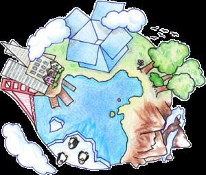 Dropbox for bedrifter - Hvor som helst i verden. Illustrasjon.