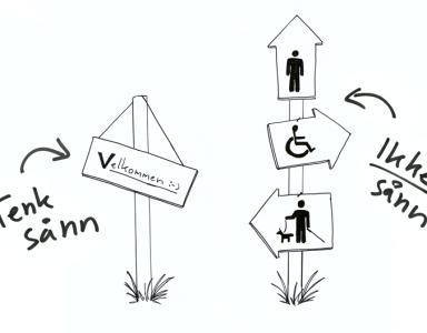 Skilt som illustrerer at man skal tenke en løsning for alle og ikke en løsning pr gruppe. Illustrasjon.